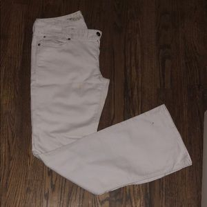 EXPRESS Low Rise Boot Cut White Jeans